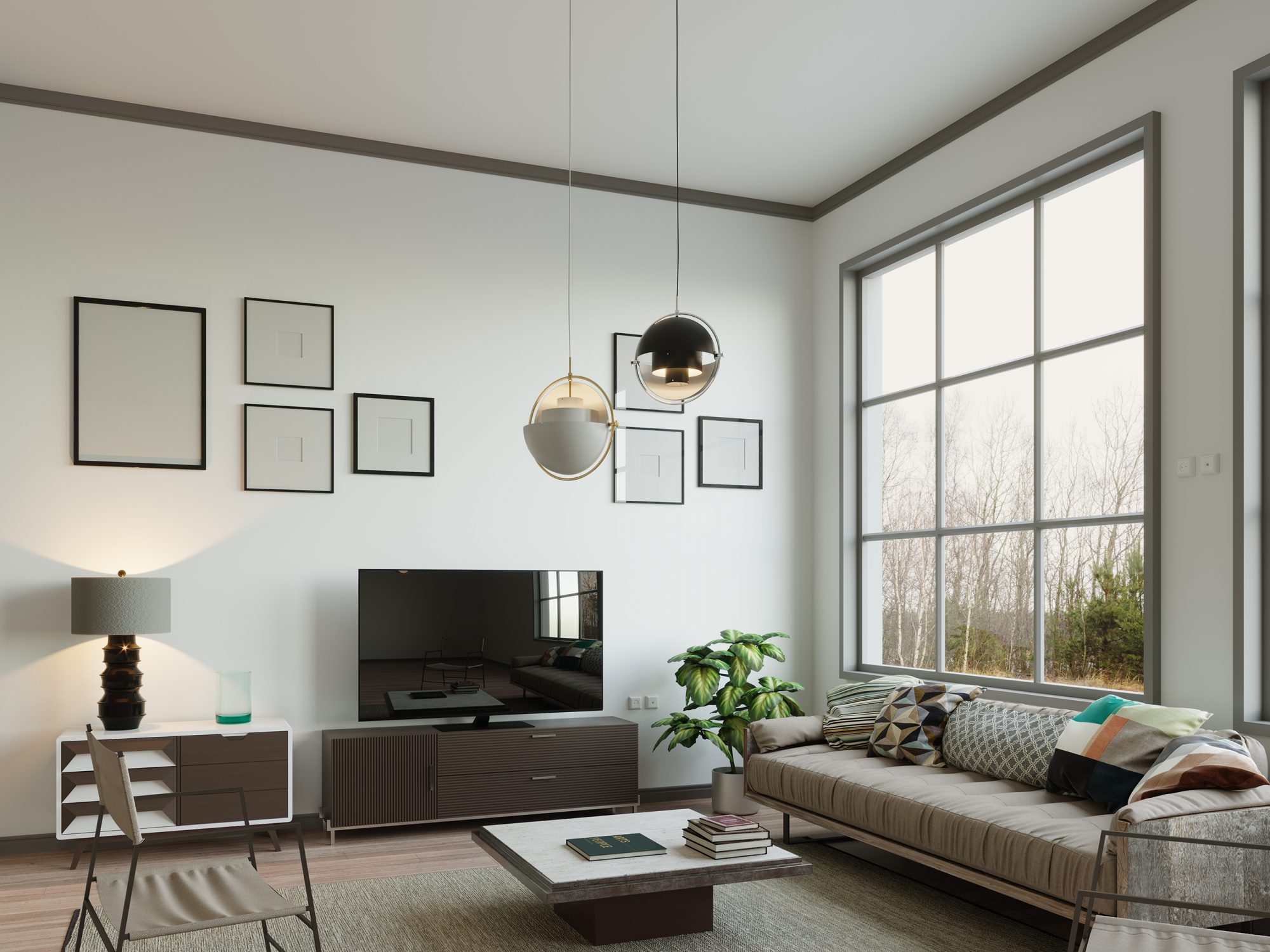 Living Room with Contrasting Paint Trim