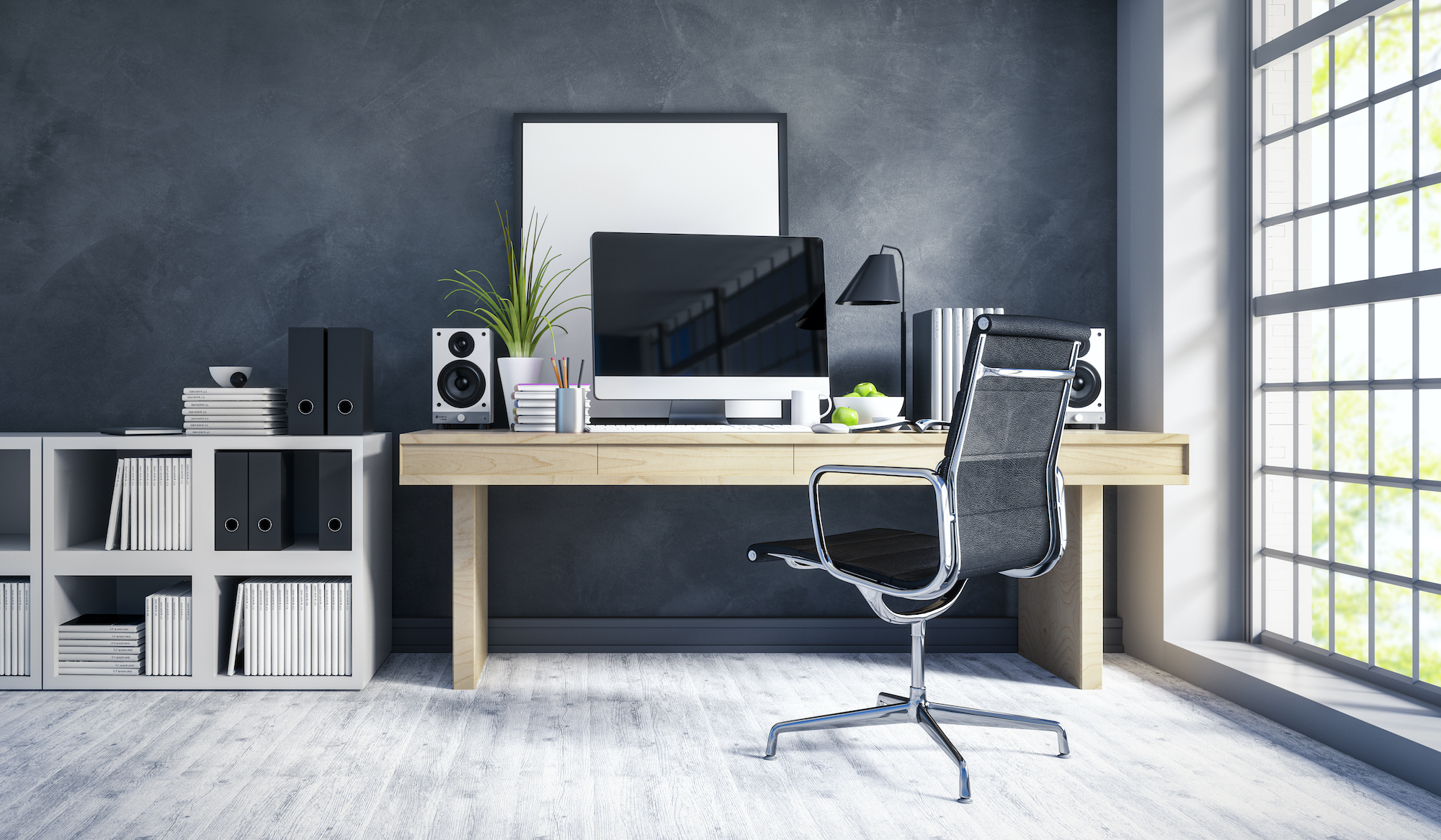 Lime Wash Office Wall in Gray