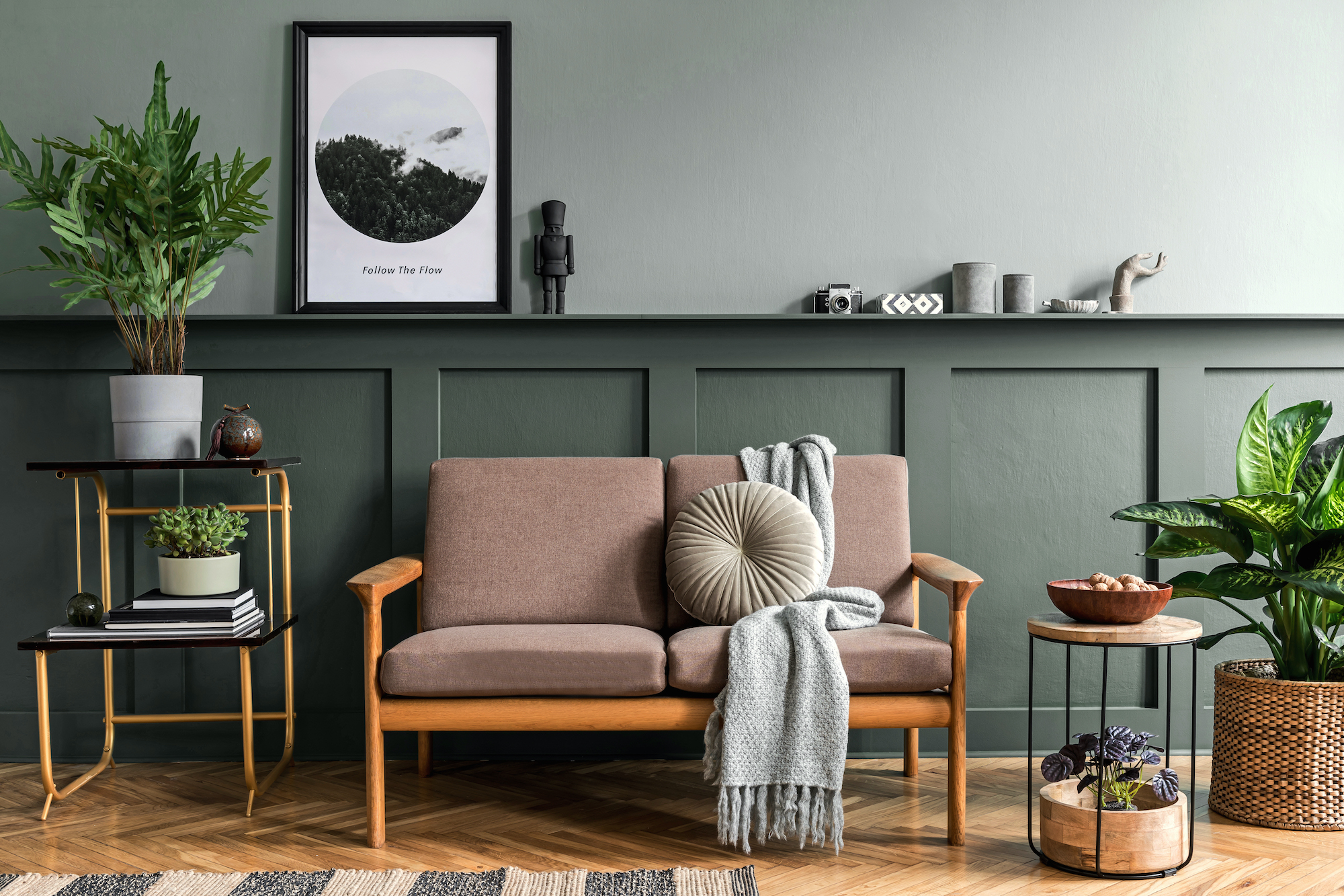 Green Two-Tone Wall Paneling in living room