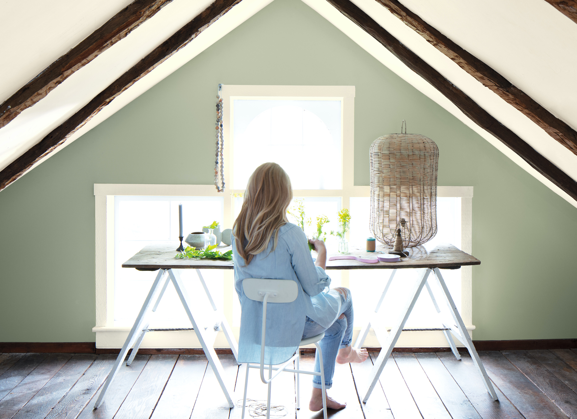 Attic office with sage green walls