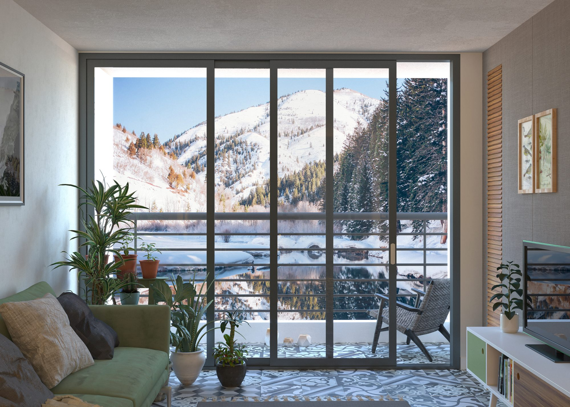 House by the mountain lake living room with snow scene and plants
