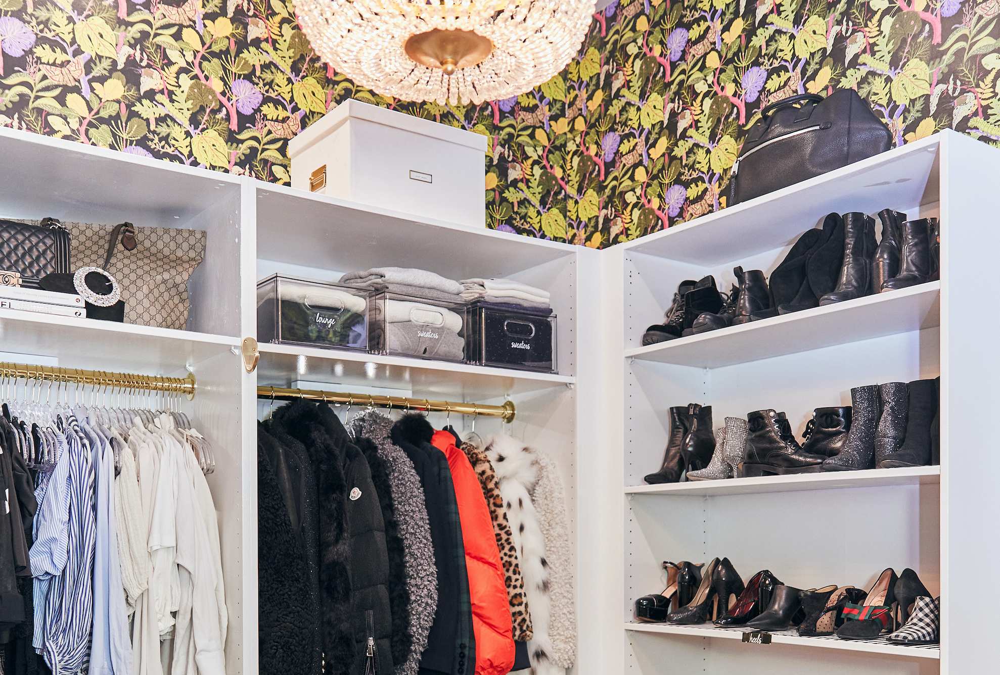 Floral wallpaper closet with organizers