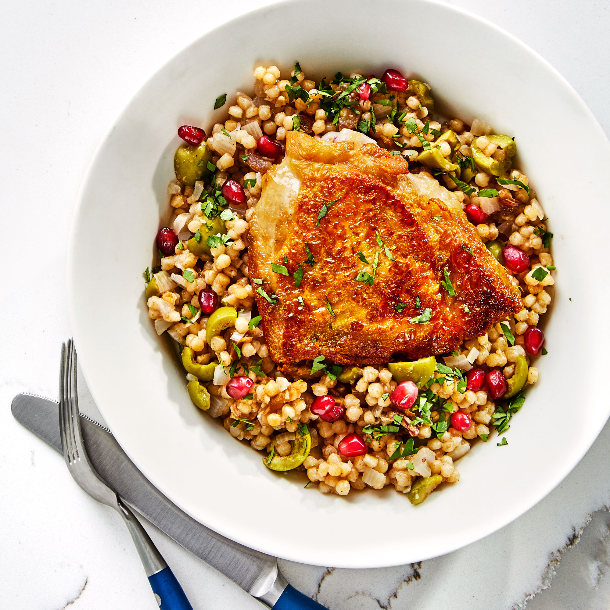 Chicken Thighs with Couscous and Olives