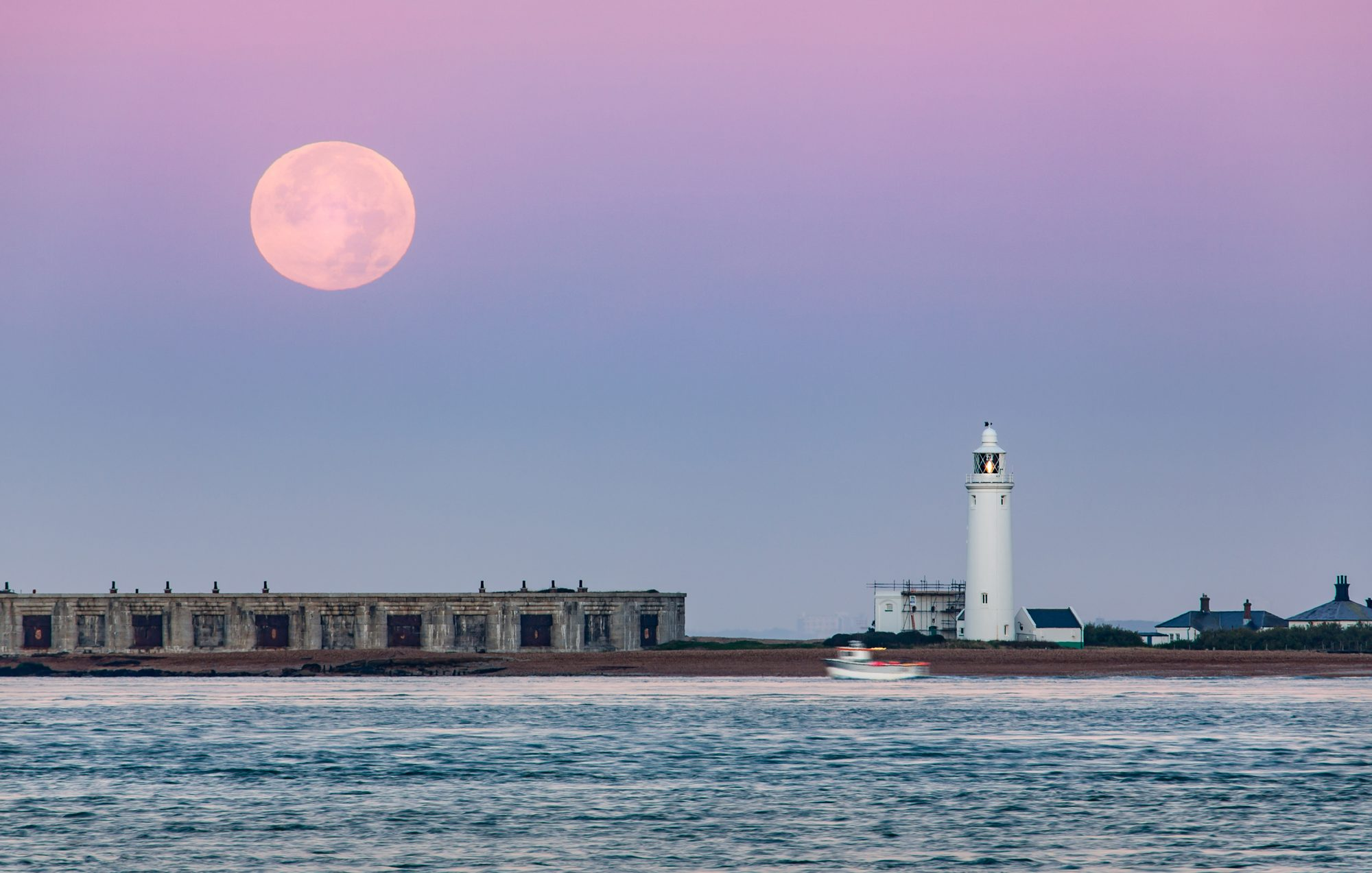 Hurst Point Lighthouse and Super Moon / Hunter's Moon
