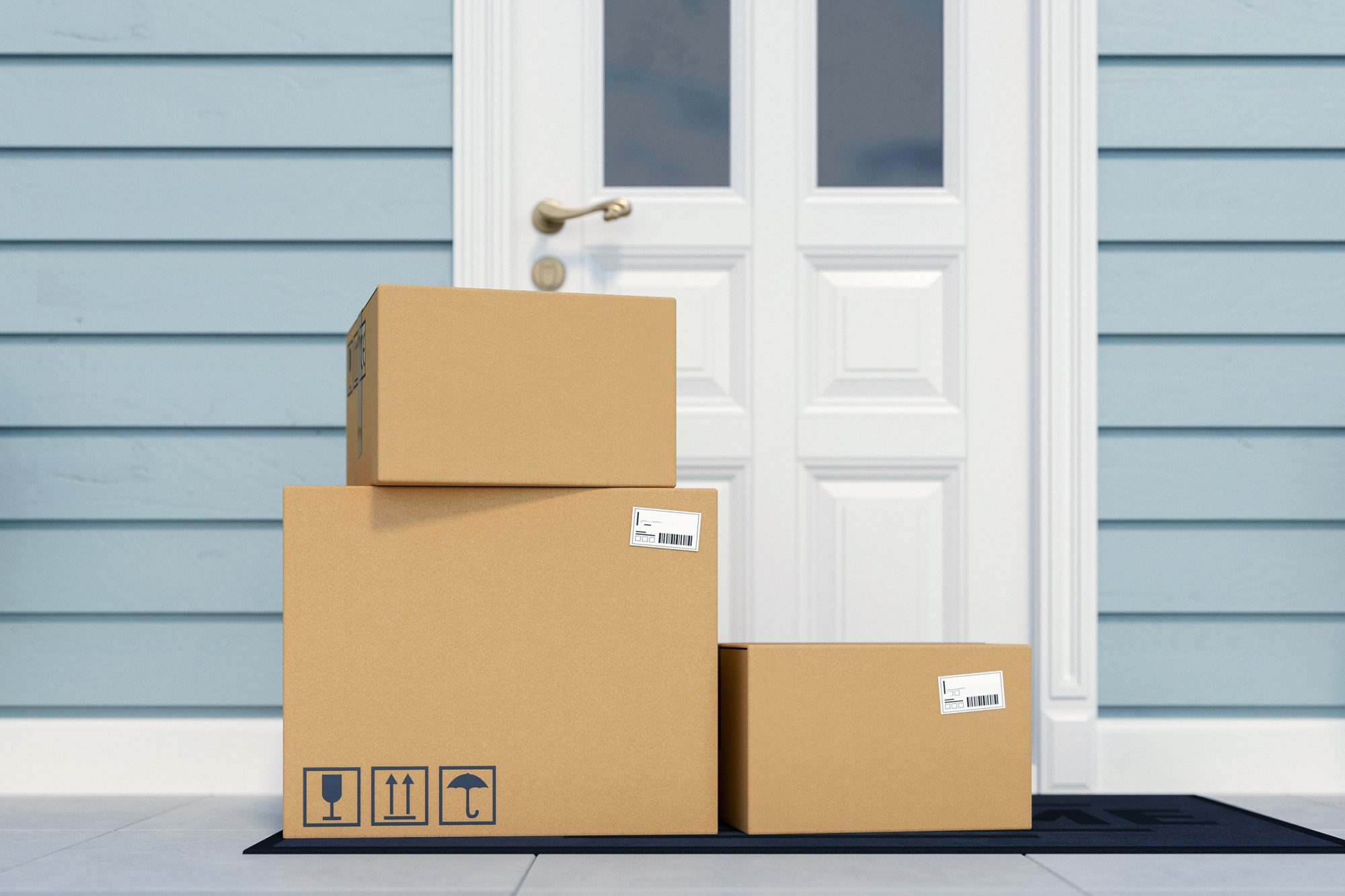 Packages waiting outside a house