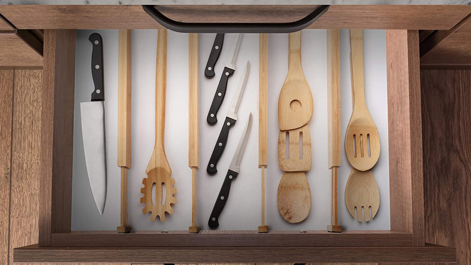 Bamboo Drawer Dividers, Adjustable & Expandable Kitchen Drawer Organizer
