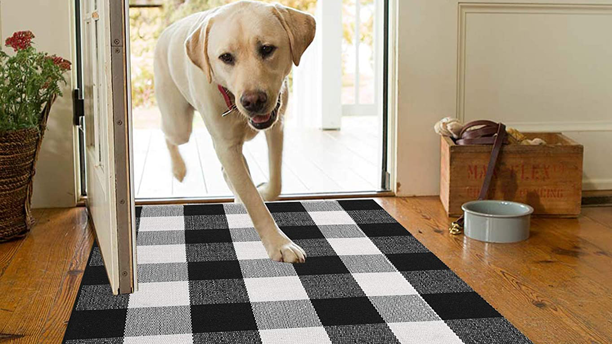 MUBIN Buffalo Plaid Rug 2X3 ft Outdoor Black and White Checked Rug Cotton Reversible