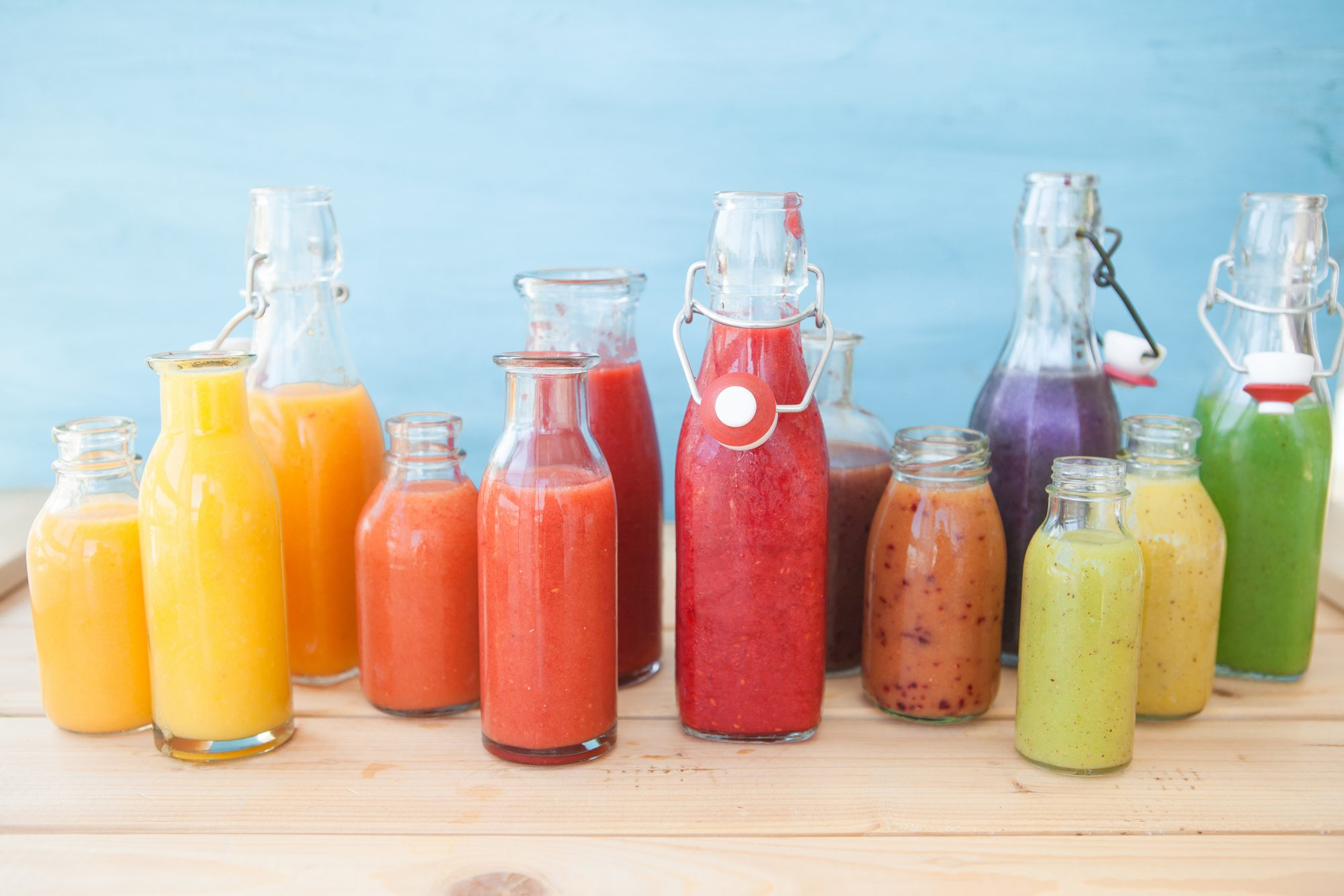 Variety of fresh healthy juices