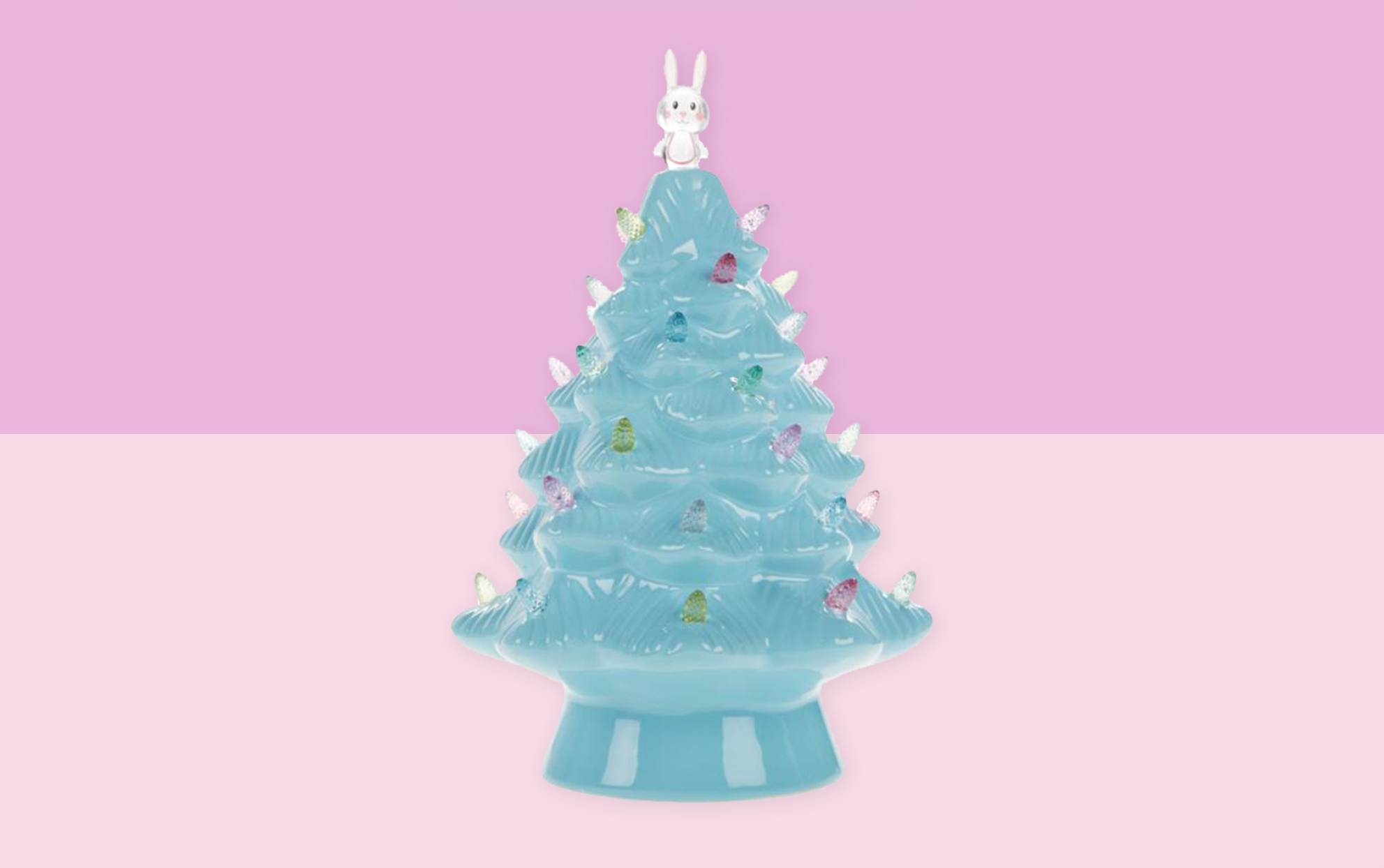 Teal Easter ceramic tree on a pink background