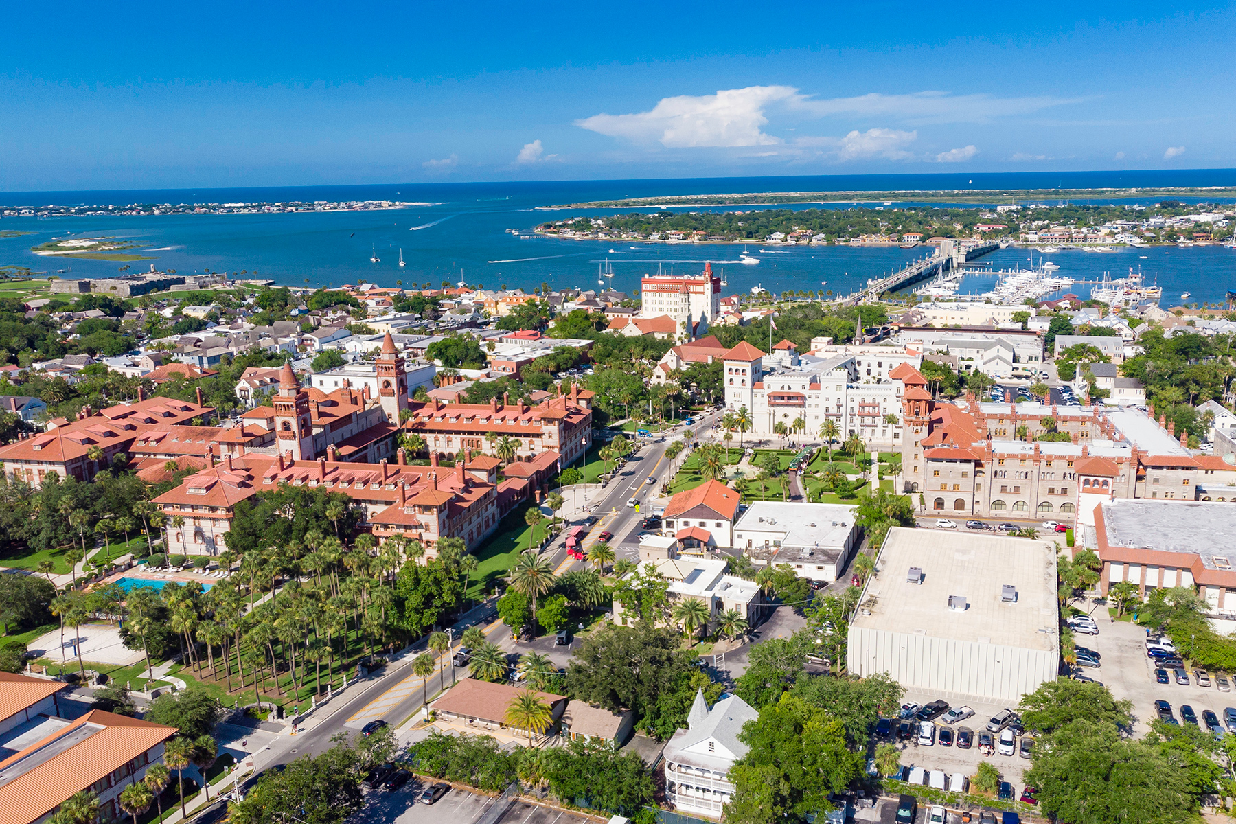 Aerial view of historic St. Augustine, Florida
