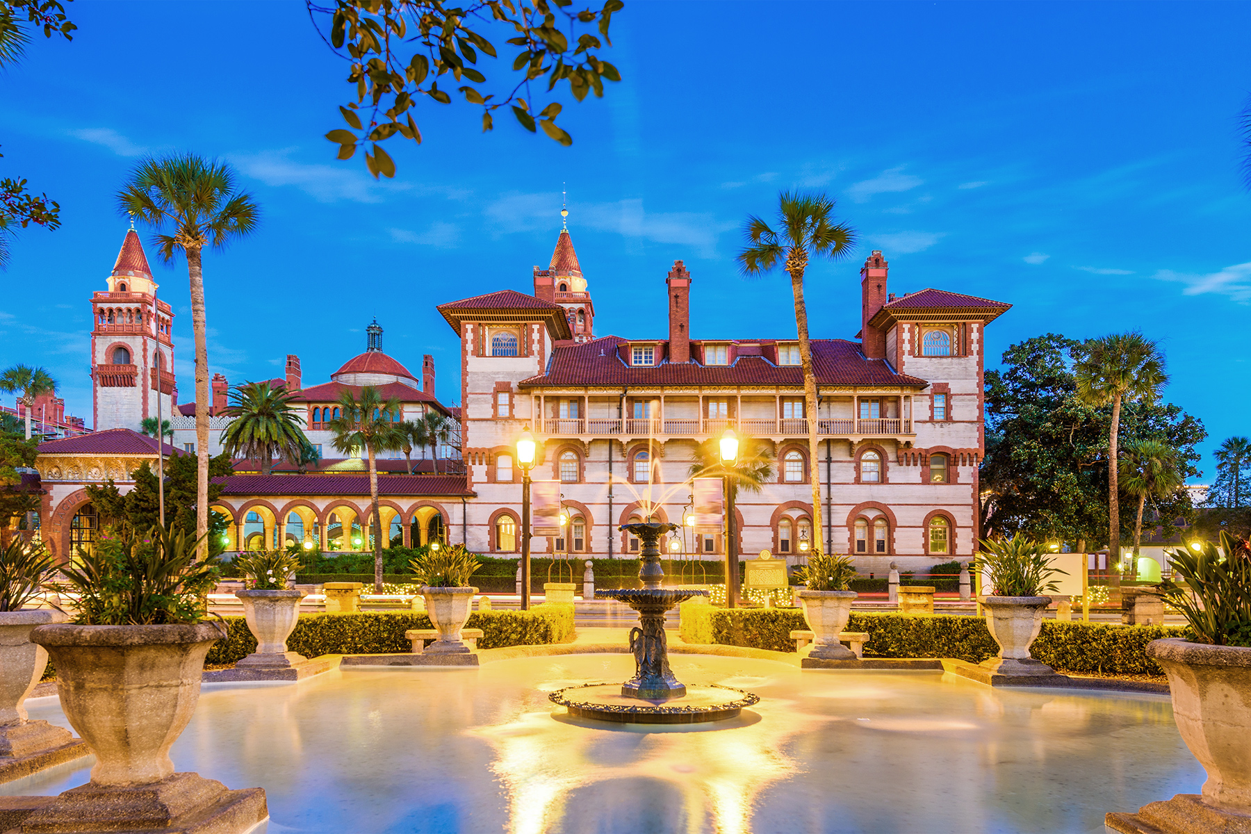 Panorama view of St. Augustine, Florida at twilight