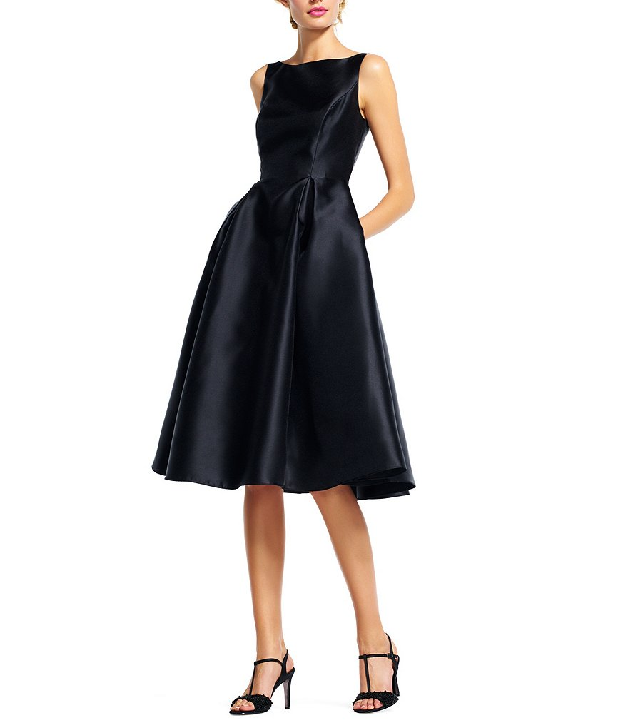 Black Midi Taffeta Dress