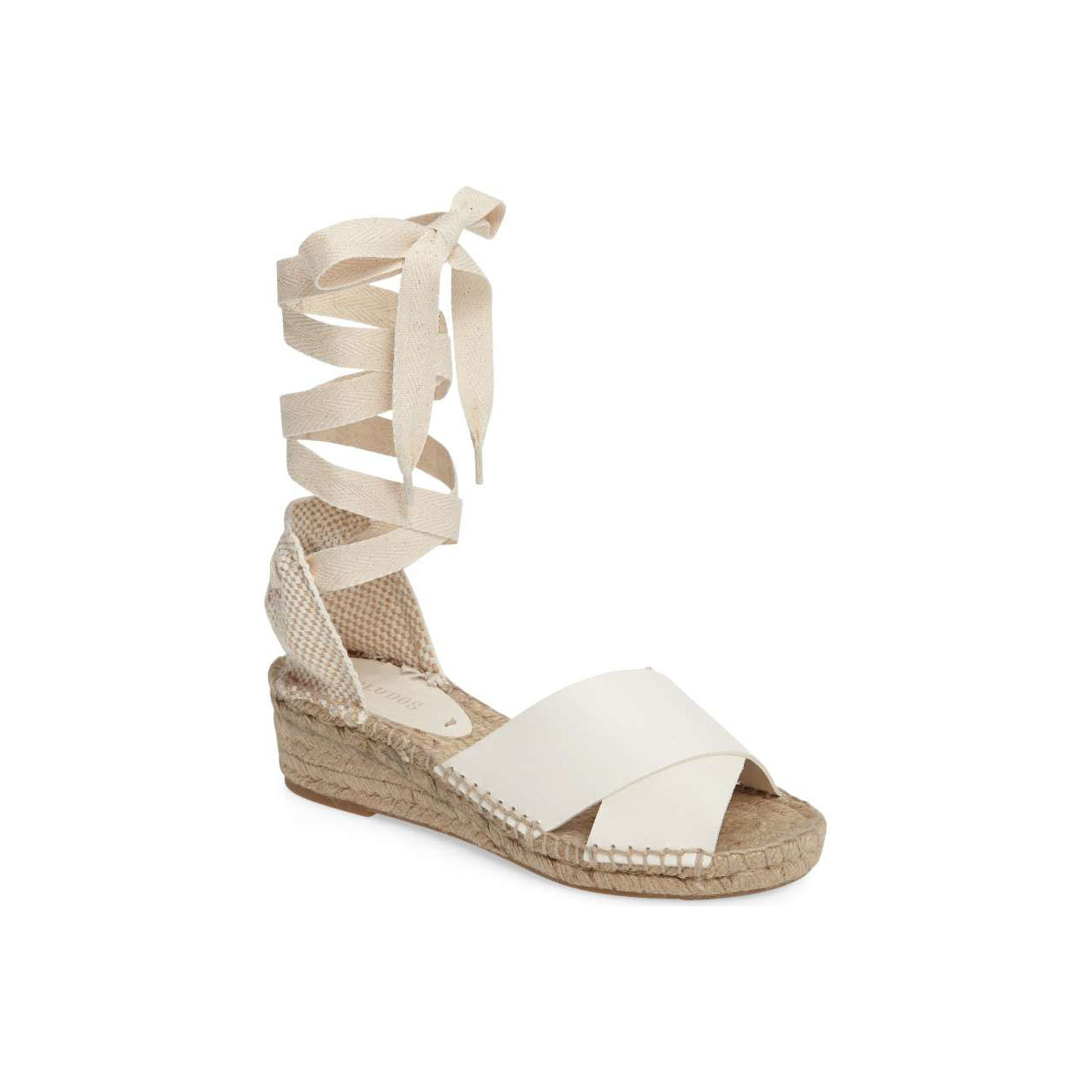 Ivory Leather Tie-Up Espadrille Wedge