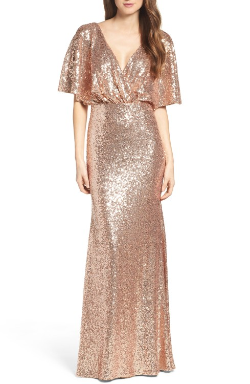 Rose Gold Sequin Blouson Gown