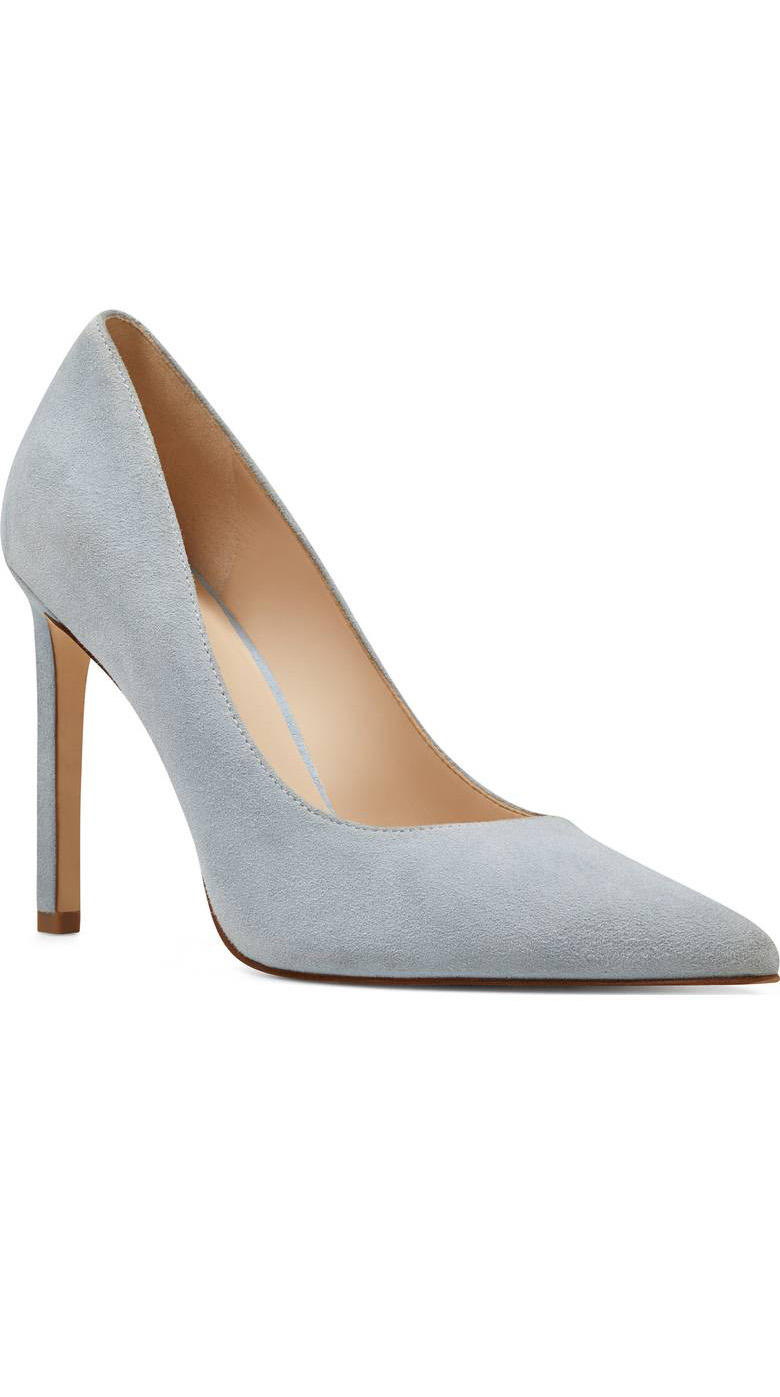 Light Blue Suede Pointy Toe Pump