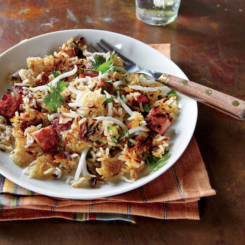 Crispy Rice with Ham and Bean Sprouts