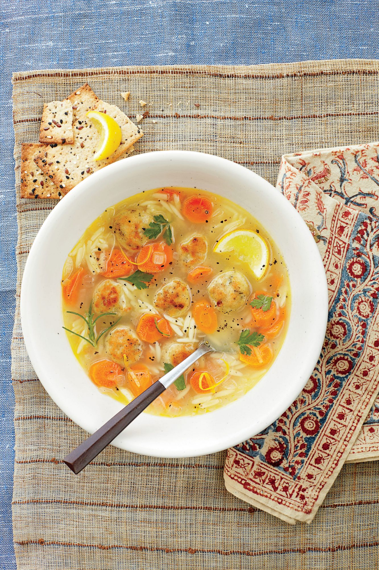 Lemon, Orzo, and Meatball Soup
