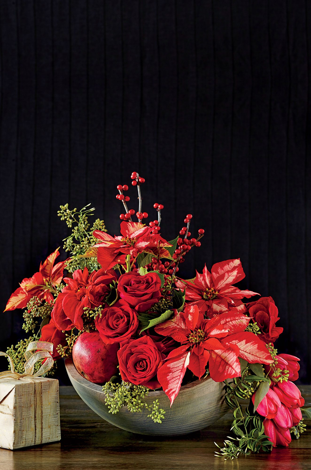 Red Poinsettia Arrangement with Rose and Tullips