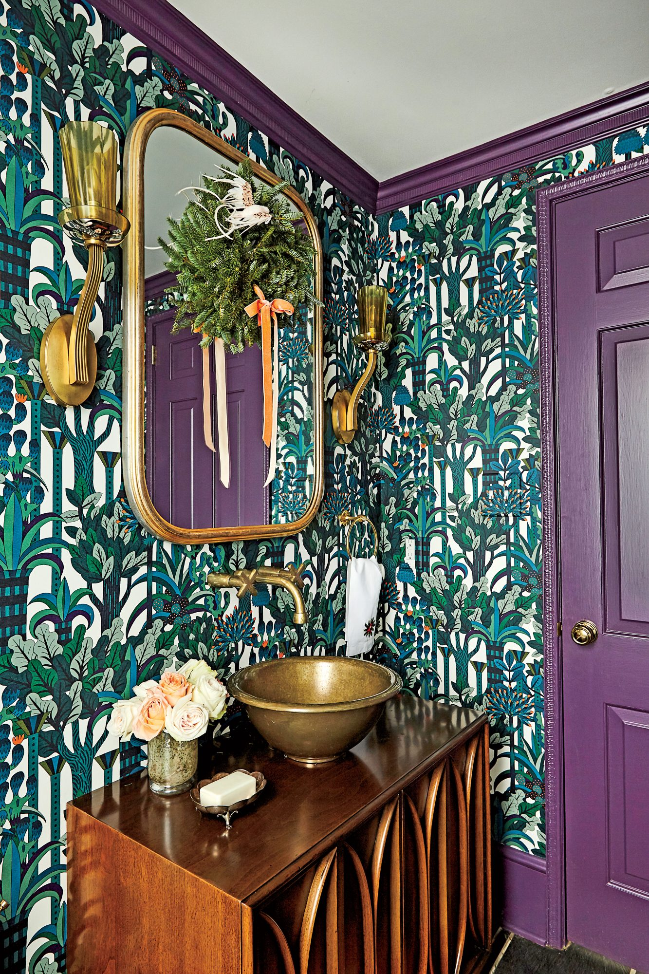 Charlotte Lucas Spartanburg, SC Purple and Turquoise Powder Room Decorated for Christmas