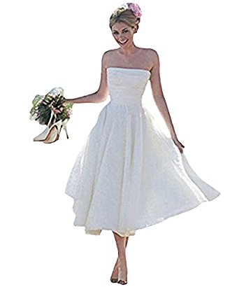 Tea-length Simple Beach Wedding Dress