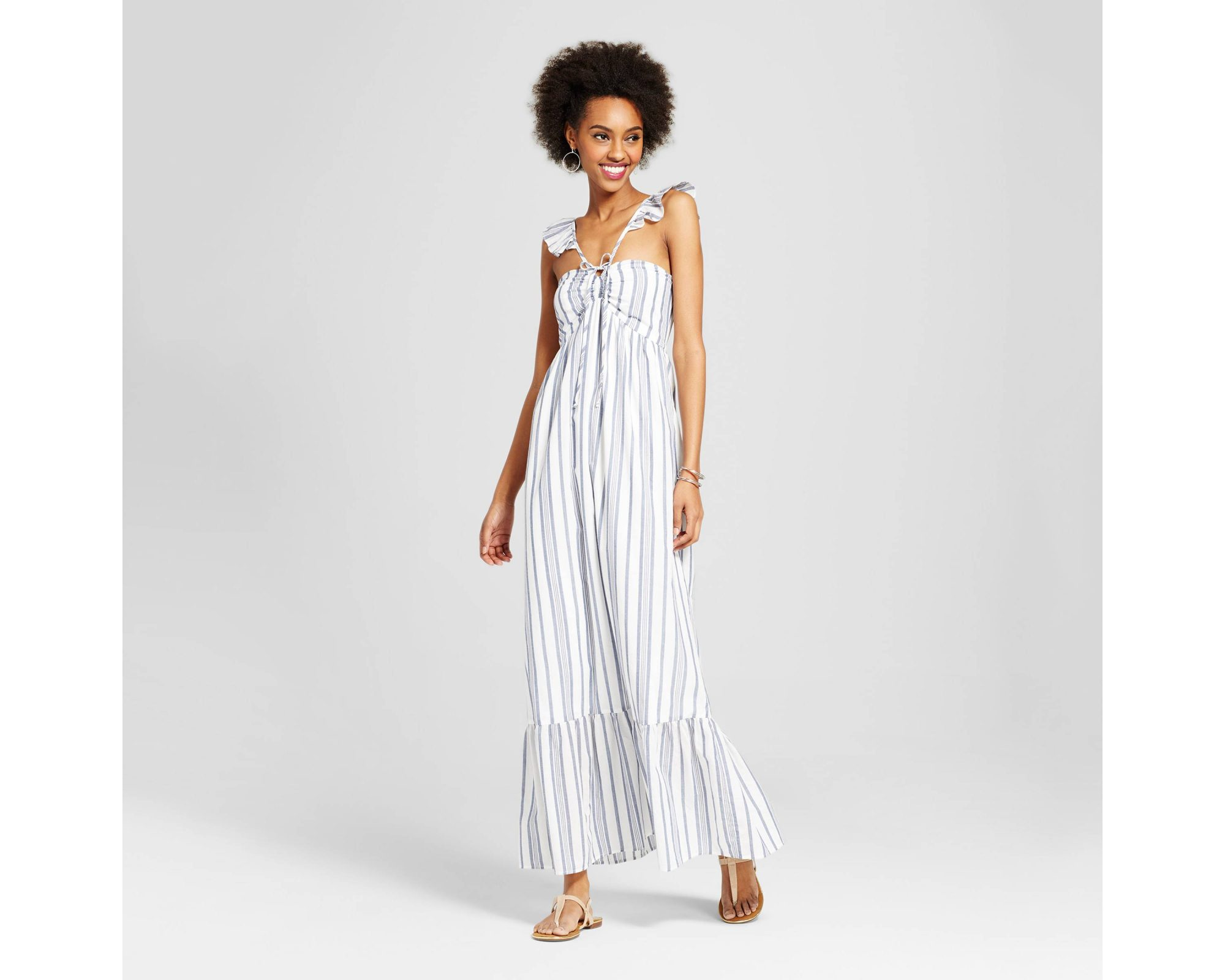Ruffle High Neck Maxi Dress