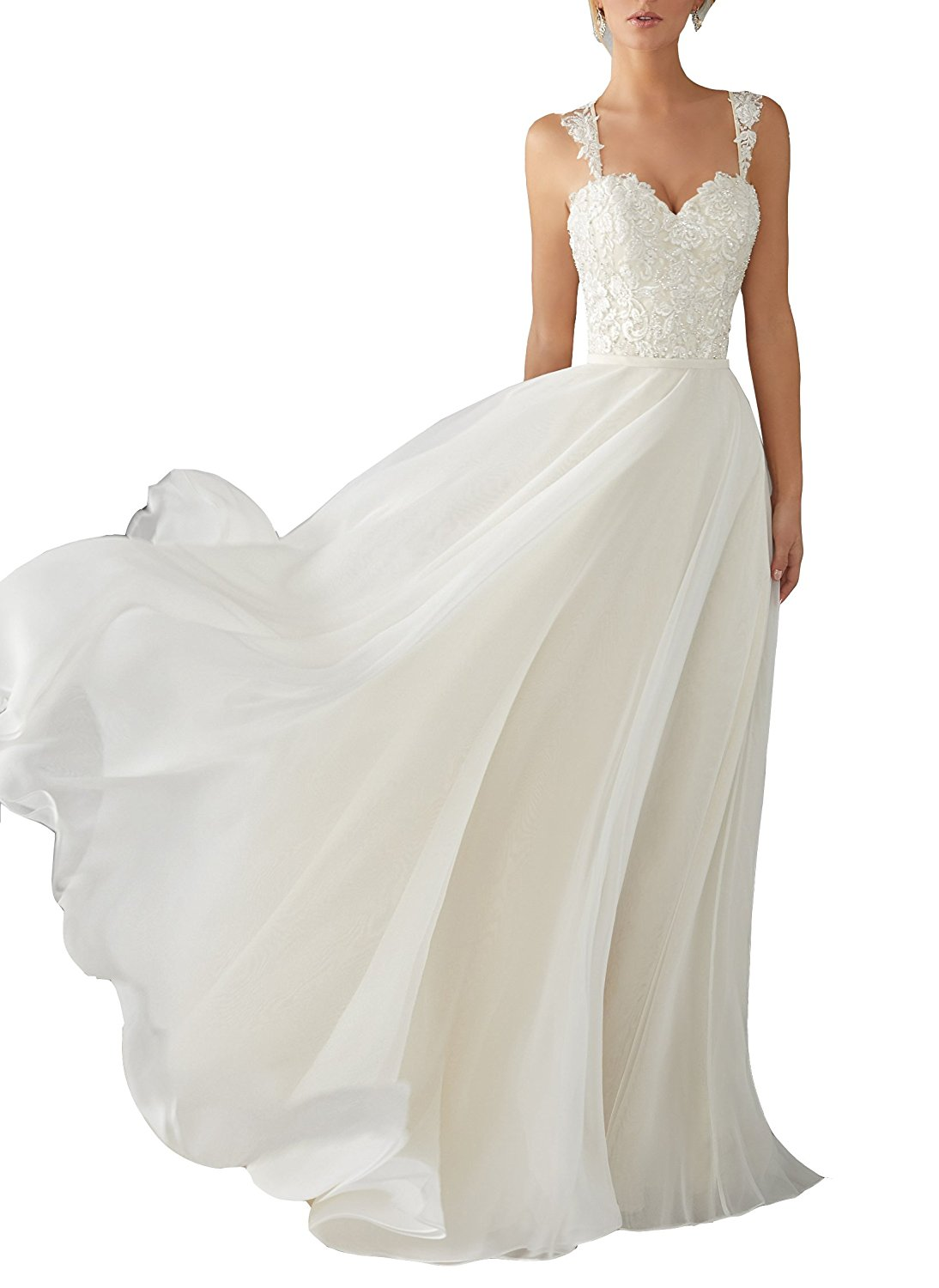 Lace Chiffon Destination Wedding Dress