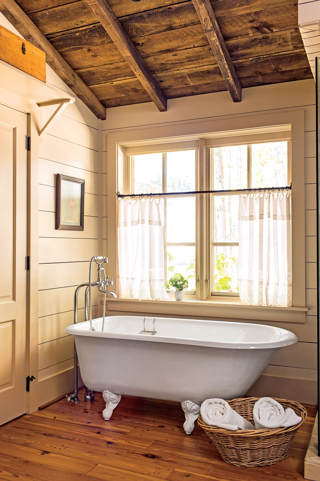 Natural wood cabin master bathroom