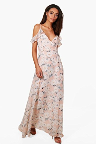 Amazon Boohoo Women's Clare Floral Print Cold Shoulder Maxi Dress