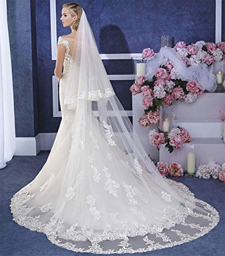 White Bridal Veil with Lace Edge