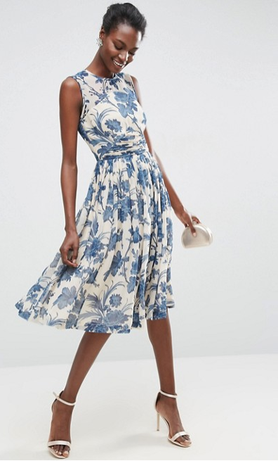 ASOS Midi Dress With Ruched Panel Detail in China Blue Print