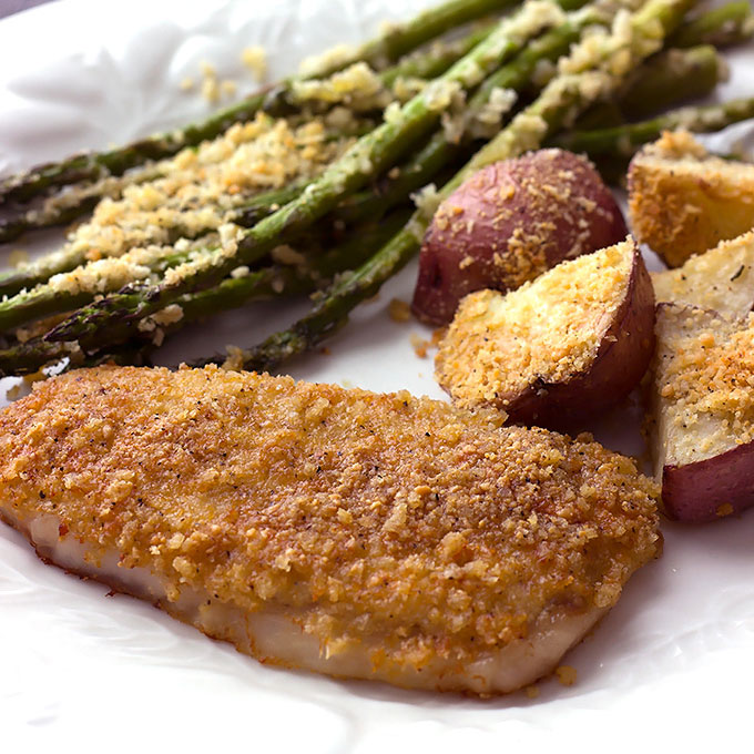 Baked Parmesan Pork Chops with Potatoes and Asparagus