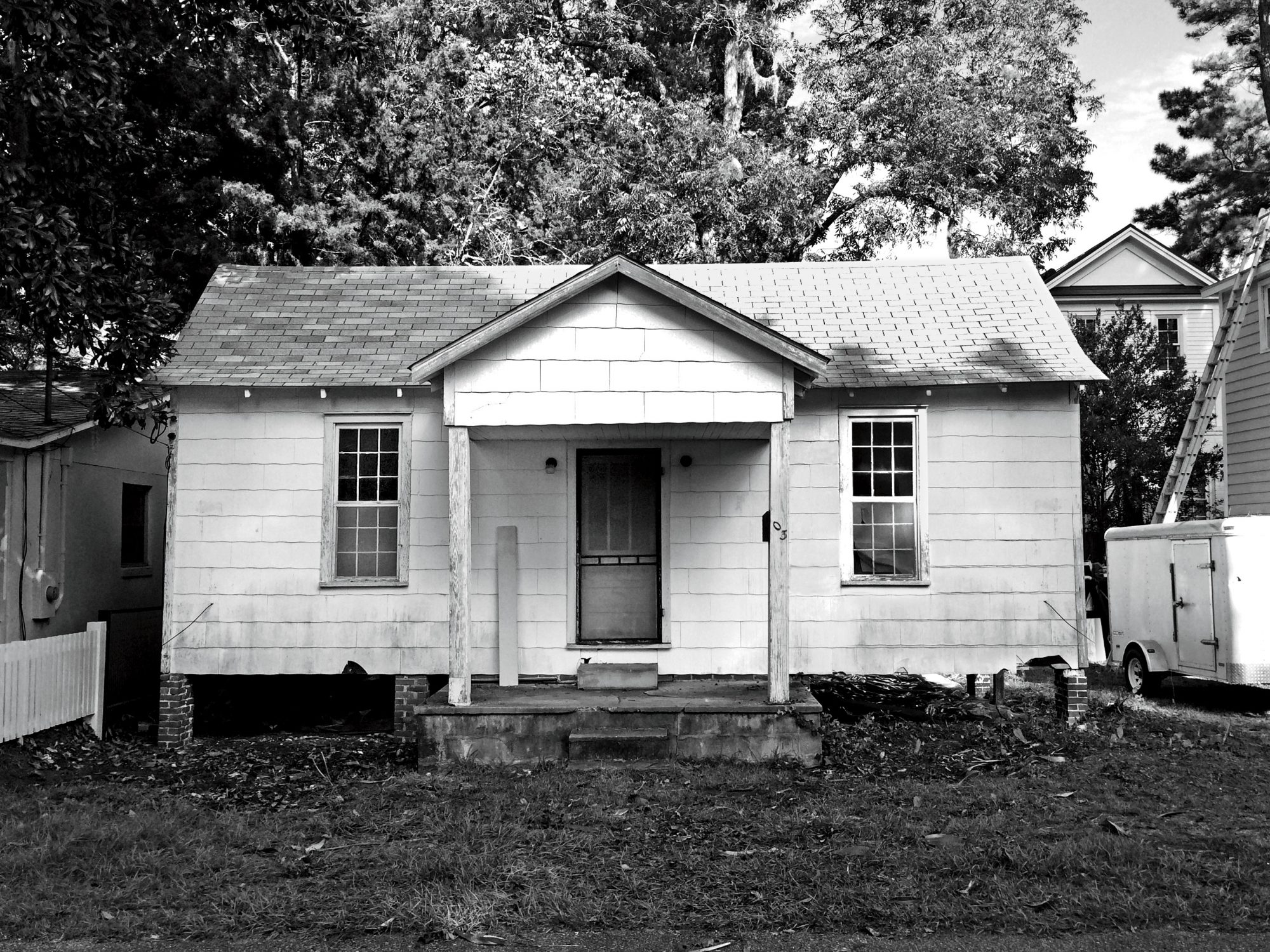 White Cottage with Just a Stoop Before
