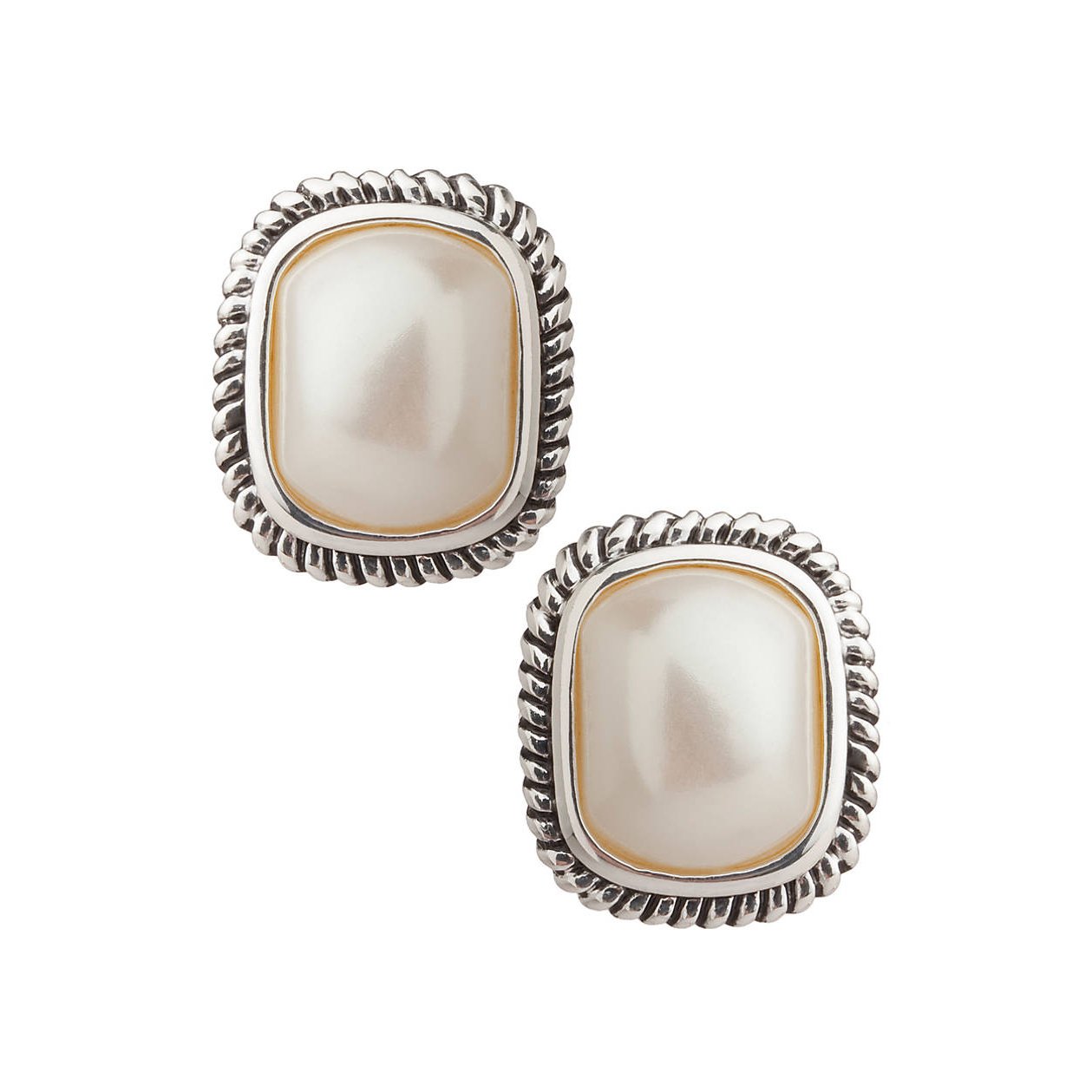 Large Pearl with Cable Edge Clip-On Earrings