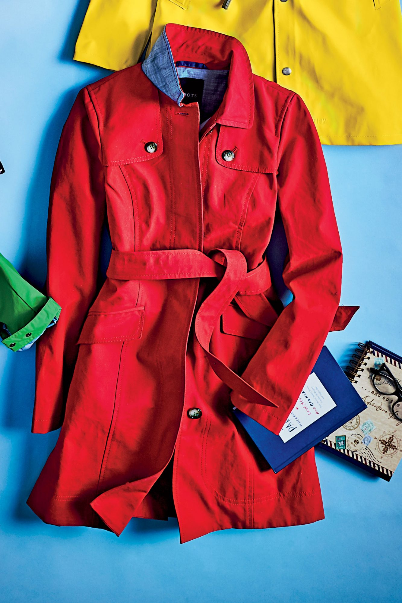 Bonded Cotton Classic Trench Coat in Poppy Red