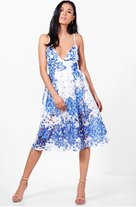 Boohoo Boutique Prya Porcelain Print Midi Skater Dress