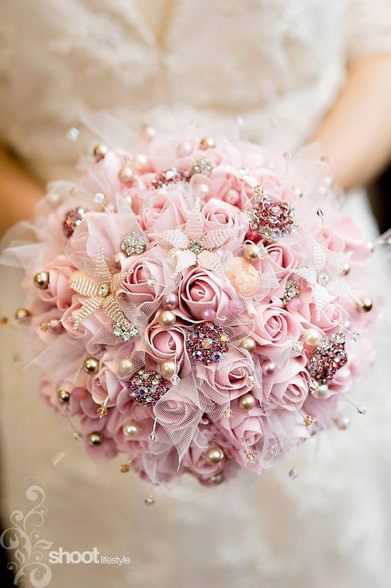 Pink Rose Pearl Bouquet