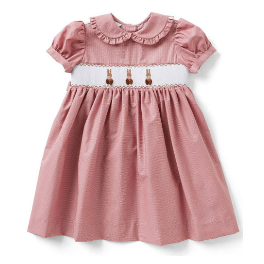 Smocked Bunny Ruffle-Collar Dress
