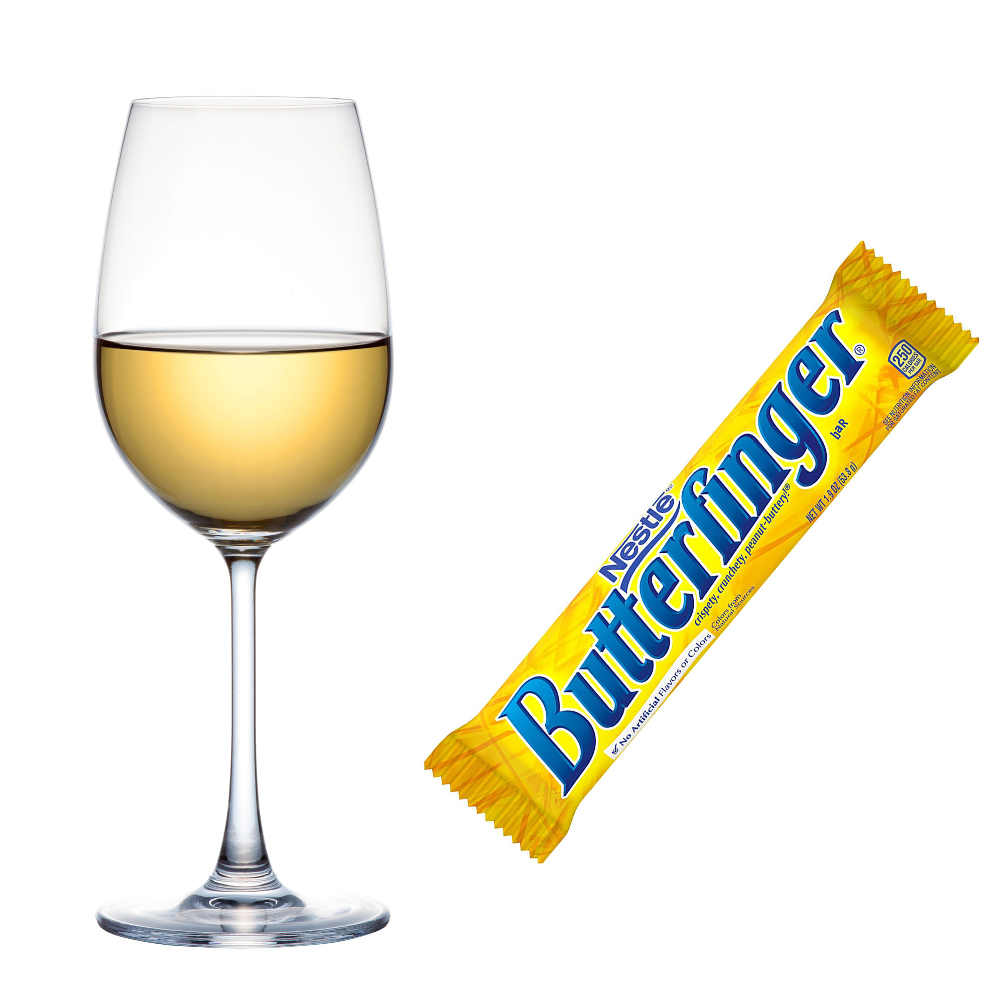 Despite the thin layer of chocolate, Butterfinger bars are fairly one-dimensional. As the name suggests, it tastes like butterscotch. Pair with a medium-bodied chardonnay that has a streak of fat-cutting acid (read: doesn't OD on oak).