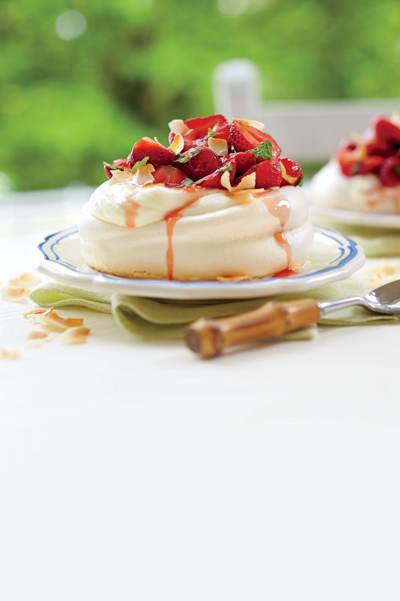Coconut Meringues with Elderflower Strawberries