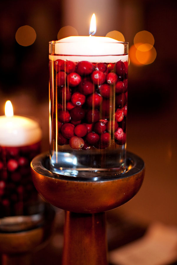 Cranberry Floating Candle Centerpiece
