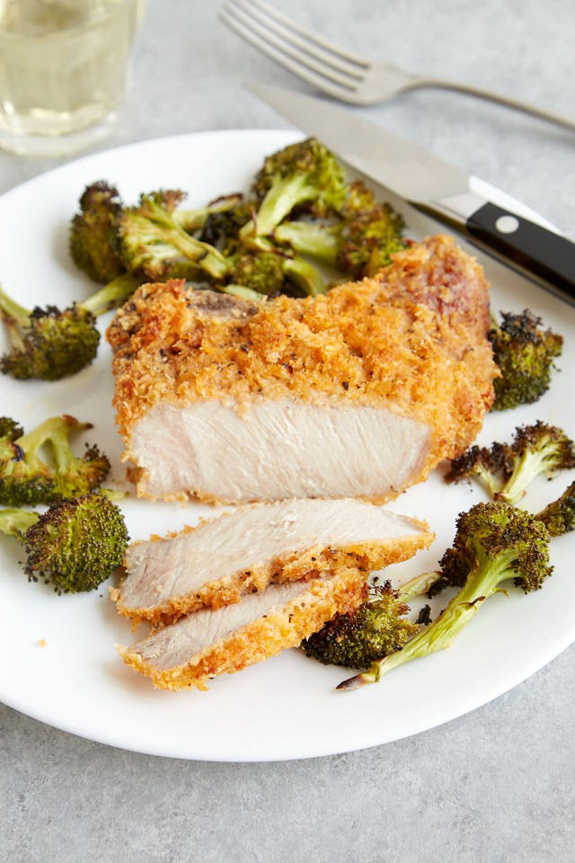 Crispy, Cheesy Pork Chops with Roasted Broccoli