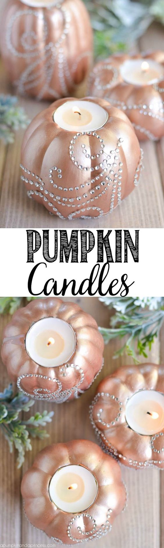 Bedazzled Pumpkin Candles