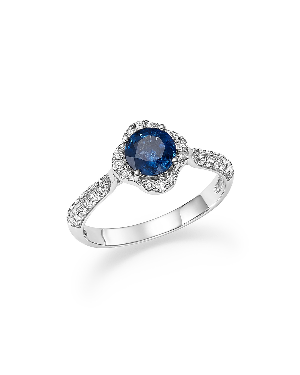Bloomingdale's Sapphire with Diamond Halo Ring in 14K White Gold