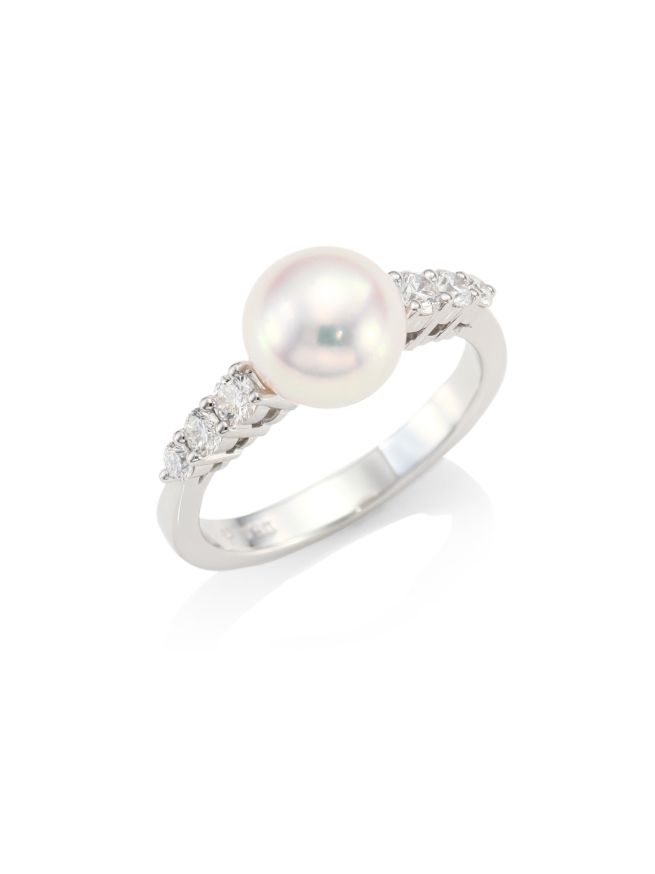 Mikimoto Morning Dew 8mm Cultured Pearl, Diamond & 18K White Gold Ring
