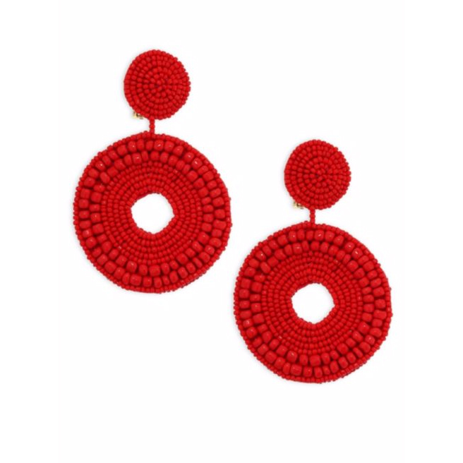 Bright Red Beaded Circle Clip-On Earrings