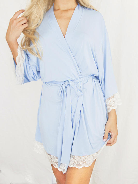 Blue Cotton Robe with Lace Trim