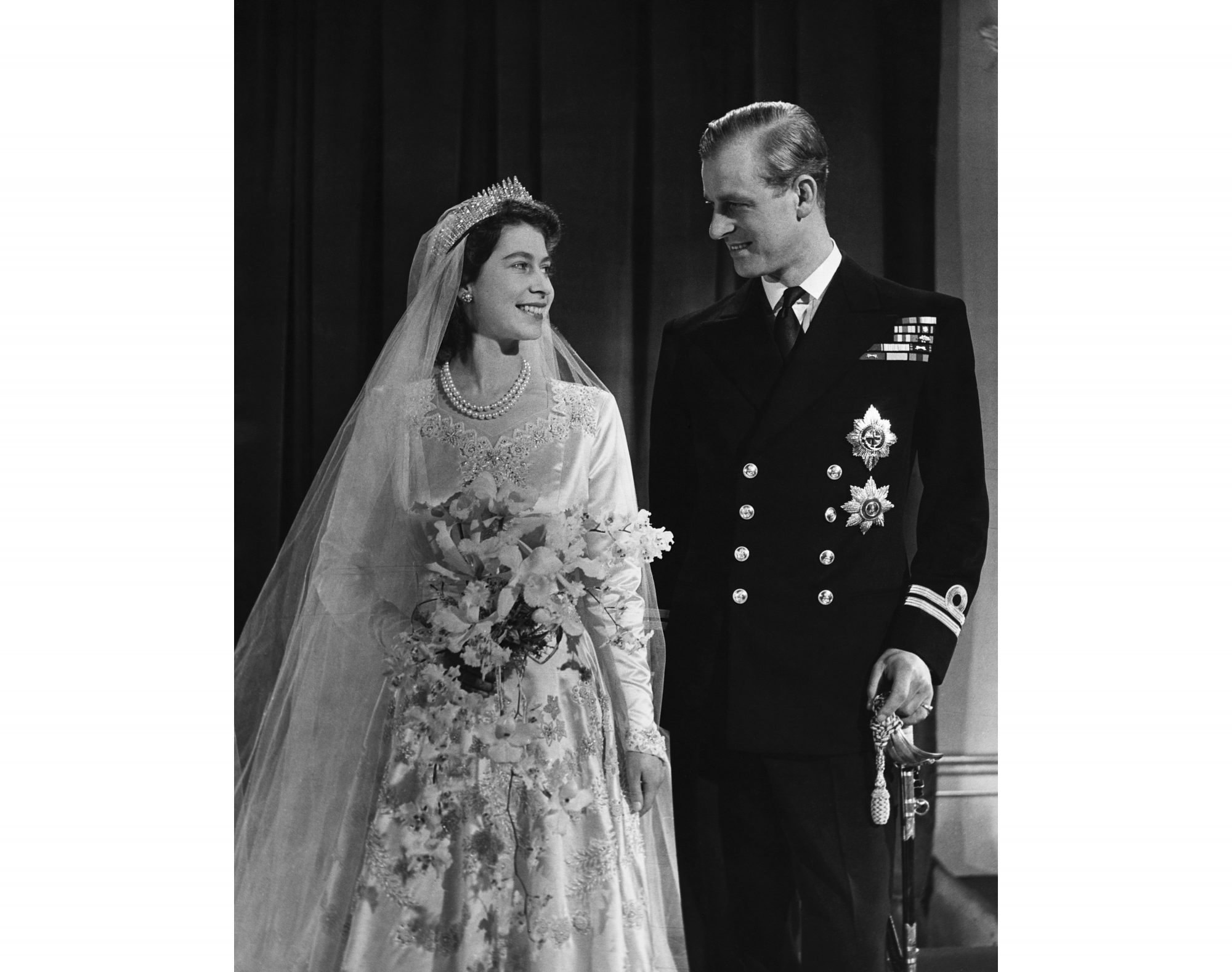 Queen Elizabeth and Prince Philip on Wedding Day