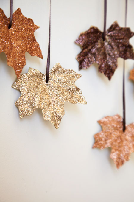 Glittery Falling Leaves Garland