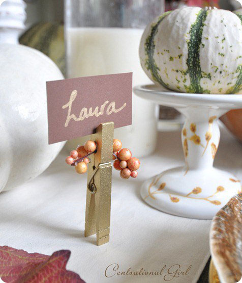 Gold Clothespin & Berry Place Card Holders
