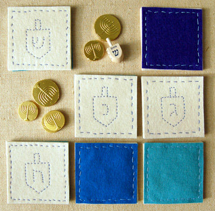 Homemade Hanukkah Coasters